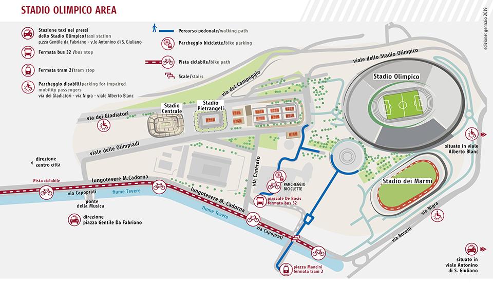 Cartina Stadio Olimpico Roma.Torneo Sei Nazioni Anche Quest Anno La Mappa Per Arrivare All Olimpico Senza Auto Roma Servizi Per La Mobilita