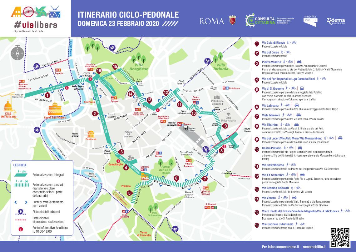 Cartina Di Villa Borghese Roma.Domenica 23 Febbraio Torna Vialibera Roma Servizi Per La Mobilita